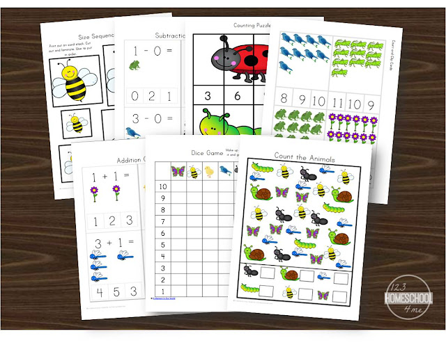 kindergarten worksheets perfect for helping kids practice adding, subtracting, graphing, counting, and skip counting with a spring theme