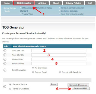 Cara membuat halaman terms of service (TOS)