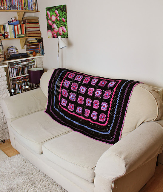 The Butterfly Balcony - Stained Glass Granny Square Afghan Blanket Pattern