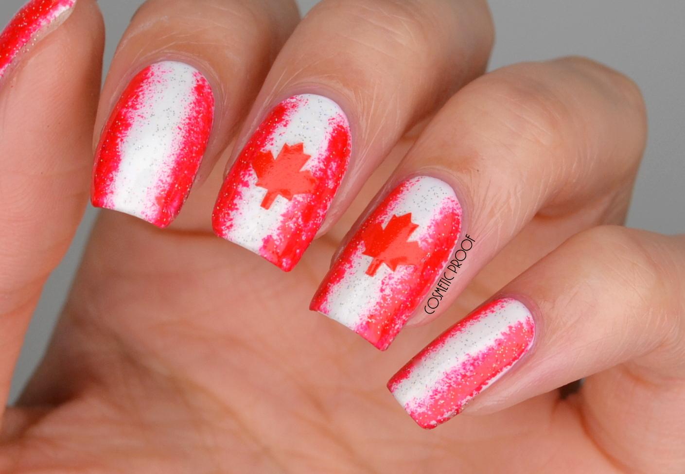 Nails Happy Canada Day Sideways Sponge Gradient Aka Happy