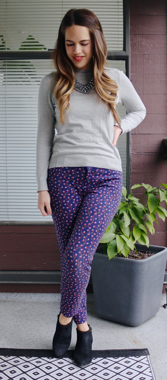 Jules in Flats - Patterned Pants with Grey Sweater for Work
