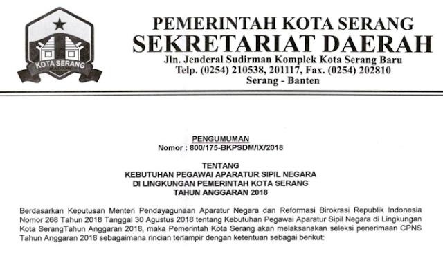 Pengumuman CPNS Kota Serang Banten Tahun  PENGUMUMAN FORMASI, PERSYARATAN DAN TATA CARA PENDAFTARAN CPNS KOTA SERANG TAHUN 2018