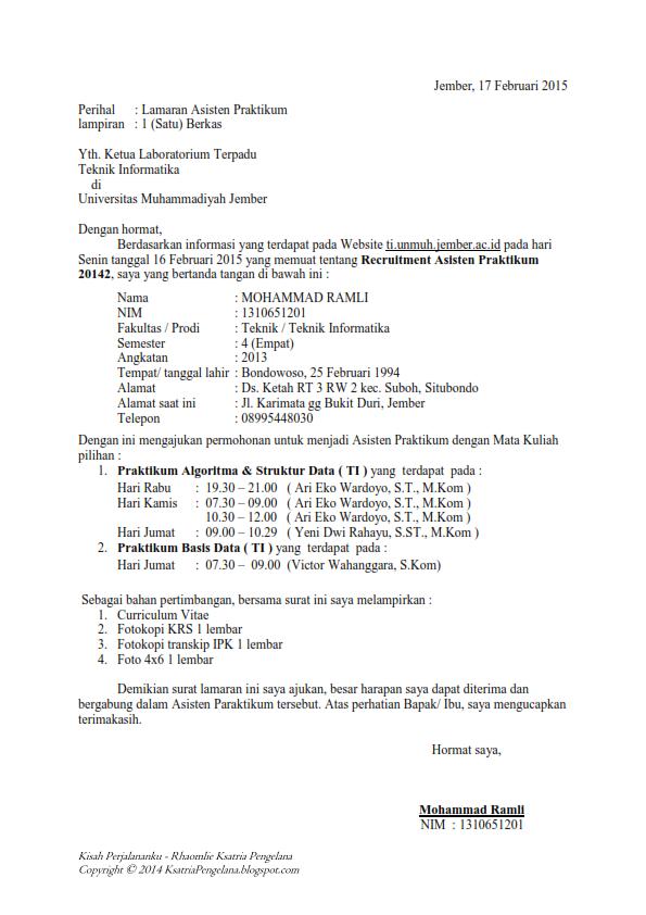 Contoh Surat Lamaran Asisten Praktikum Dan Curriculum Vitae 20142