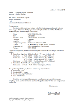Contoh Curriculum Vitae Pengajuan Beasiswa Ksatria Pengelana