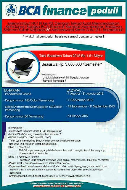 Beasiswa BCA Finance Peduli 2016