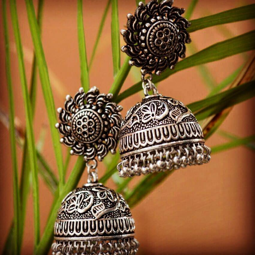 104bcbdfd Exclusive oxidized silver jhumkas | Buy Online Silver Jewellery ...