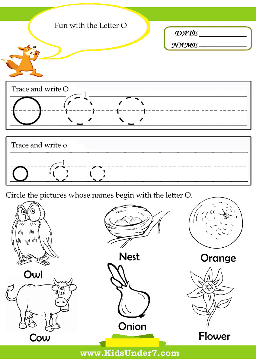 Letter O Worksheet Alphabet tracing pages