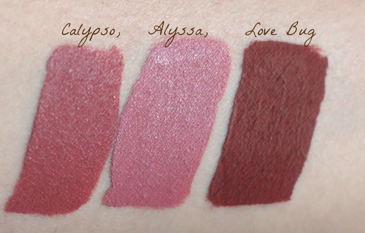 colourpop ultra matte lip in love bug review and swatch, ultra satin lip calypso, ultra satin lip in alyssa review and swatch