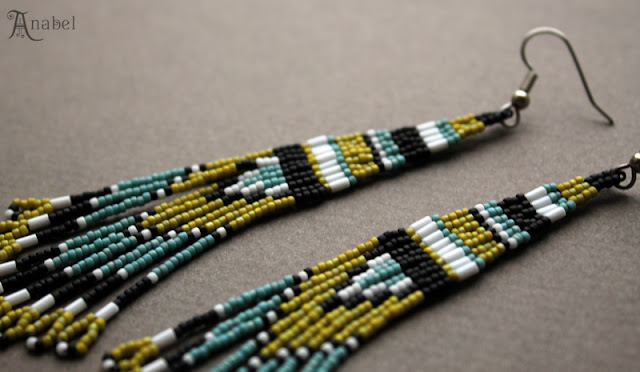 купить этнические серьги ручной работы из бисера украшения