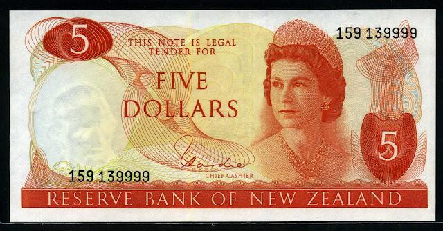 money New Zealand currency 5 Dollars Queen Elizabeth II