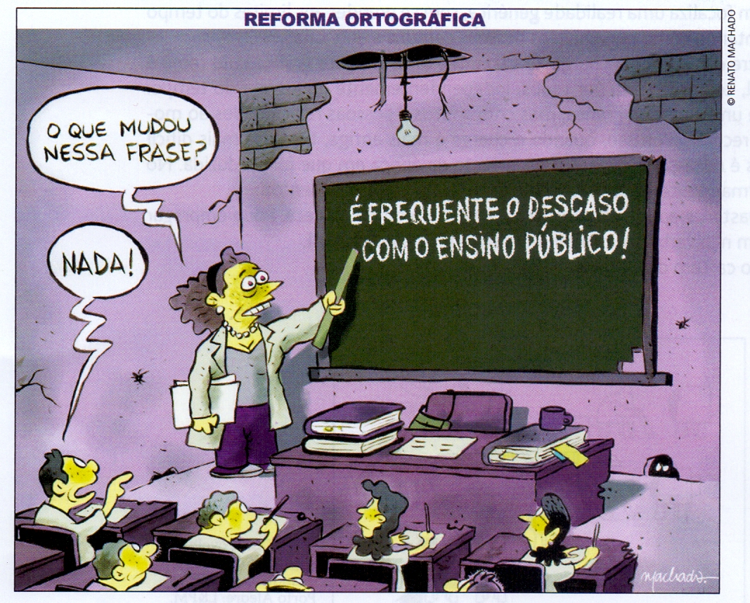 Português, Literatura e Redação: Análise crítica de charge sobre Educação