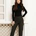 Pantaloni femei office eleganti cu talie inalta gri inchis