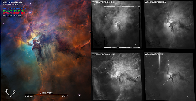 Compass Image for Lagoon Nebula (Visible). Credit: NASA, ESA, and STScI