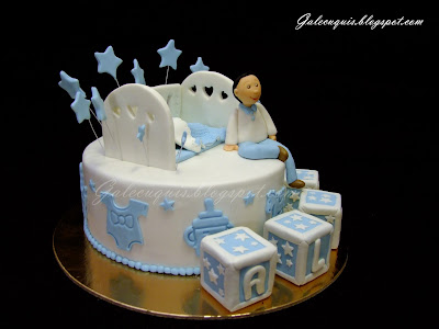 Tarta bautizo en blanco y azul