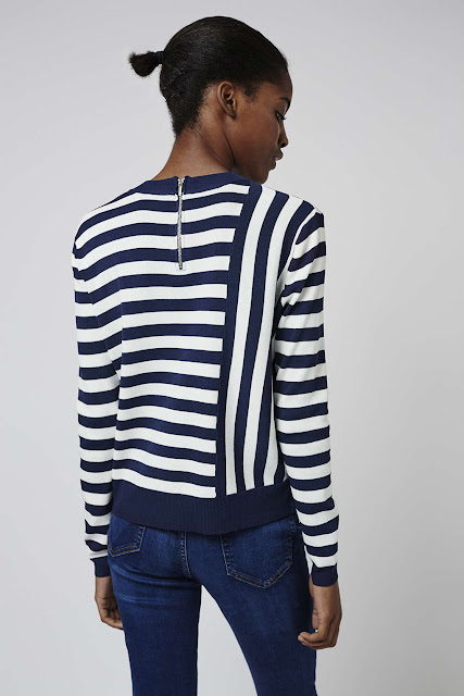black white stripe knit jumper, stripe zip back jumper,