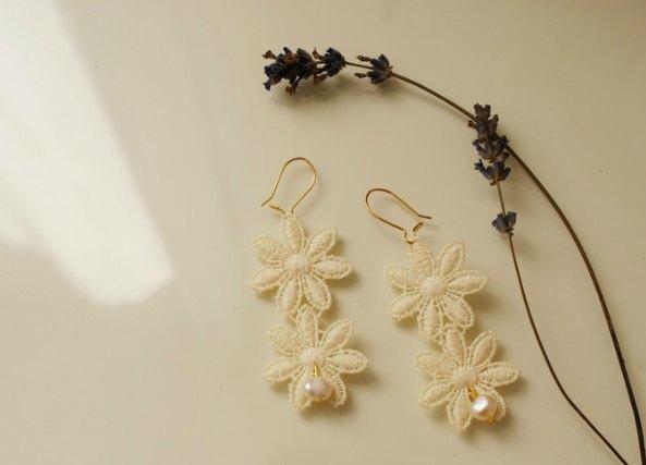 Pendientes flores encaje