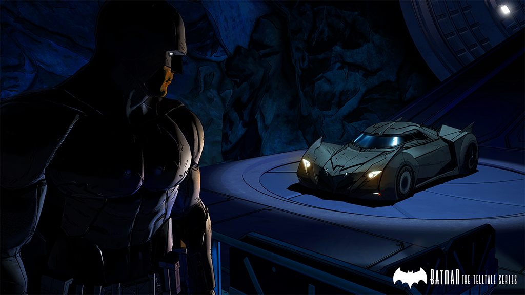 Batman - The Telltale Series Screenshot Batman and the Batmobile in the Batcave