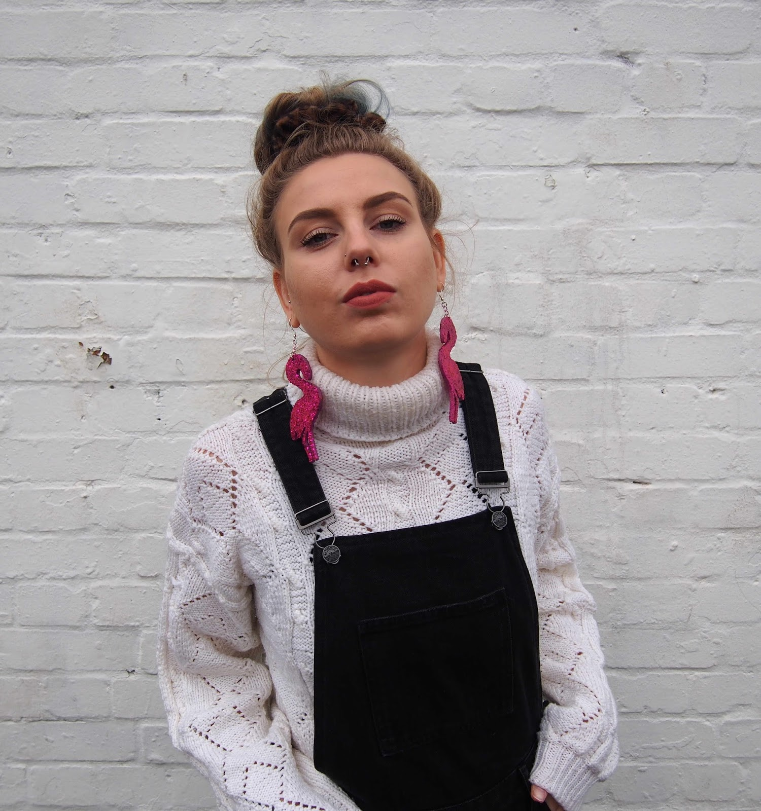 black denim dungarees, styling dungarees winter, pink superstar supercolours, vintage oversized roll neck jumper, pink glitter oversized flamingo no basic bombshell earrings, 90's grunge 1
