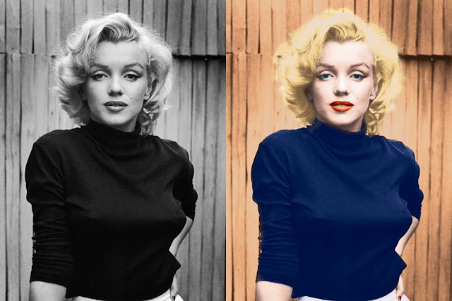 black and white photo colourised before and after