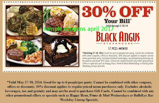 Black Angus Steakhouse coupons for april 2017