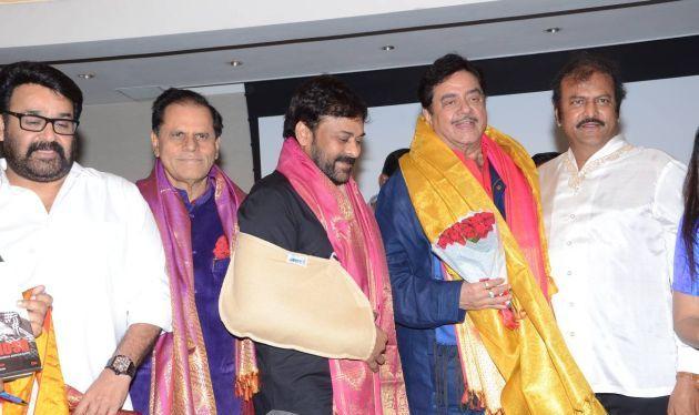 Mohan Lal, Subbirami reddy, Chiranjeevi, Shatrughan Sinha, Mohan Babu at the book launch of Anything but Khamosh. When Legends Meet, Social Media goes Berserk. Chiranjeevi and Mohan Lal.
