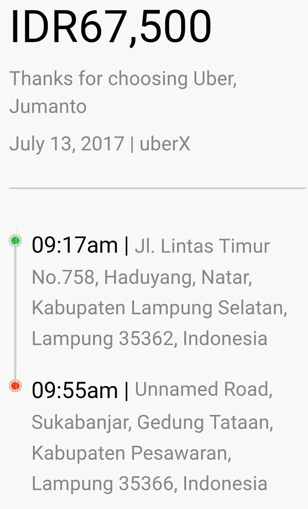 tarif uber lampung