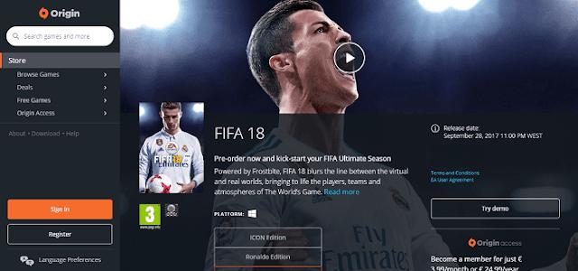تحميل لعبة FIFA 18 النسخة التجريبة بالمجان