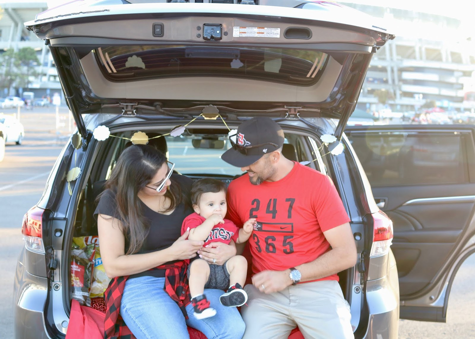 tailgating with my little family, San Diego state university homecoming game 2018, San Diego Toyota tailgate 2018