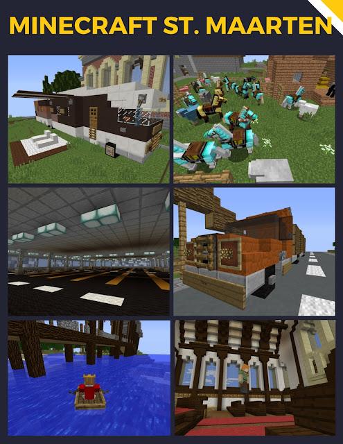 Collage van afbeeldingen uit Minecraft uit de St. Maartenwereld.