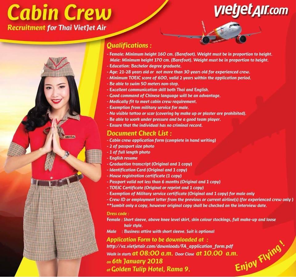 fly gosh: thai vietjet air cabin crew recruitment - walk in