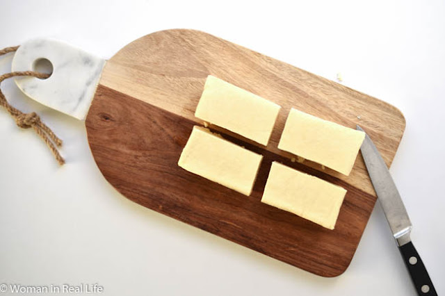How to cut tofu into triangles.
