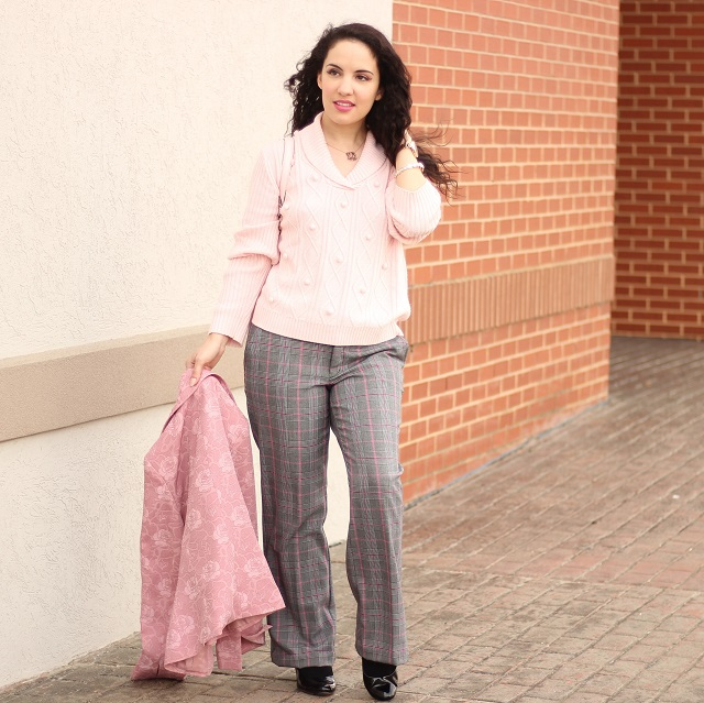 Grey and Pink Plaid Pants
