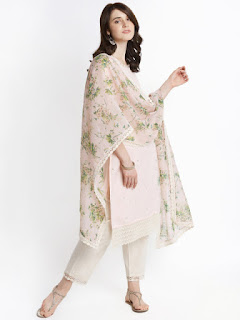 TRISHAA BY PANTALOONS Women Pink & Embroidered Kurta with Palazzos & Dupatta