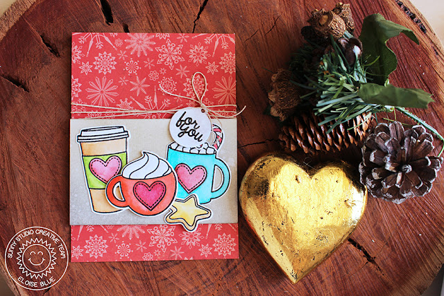 Sunny Studio Stamps: Mug Hugs Coffee & Hot Chocolate Card by Eloise Blue.