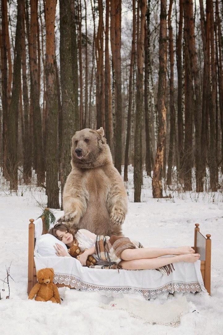 Russian model posing with bear-1