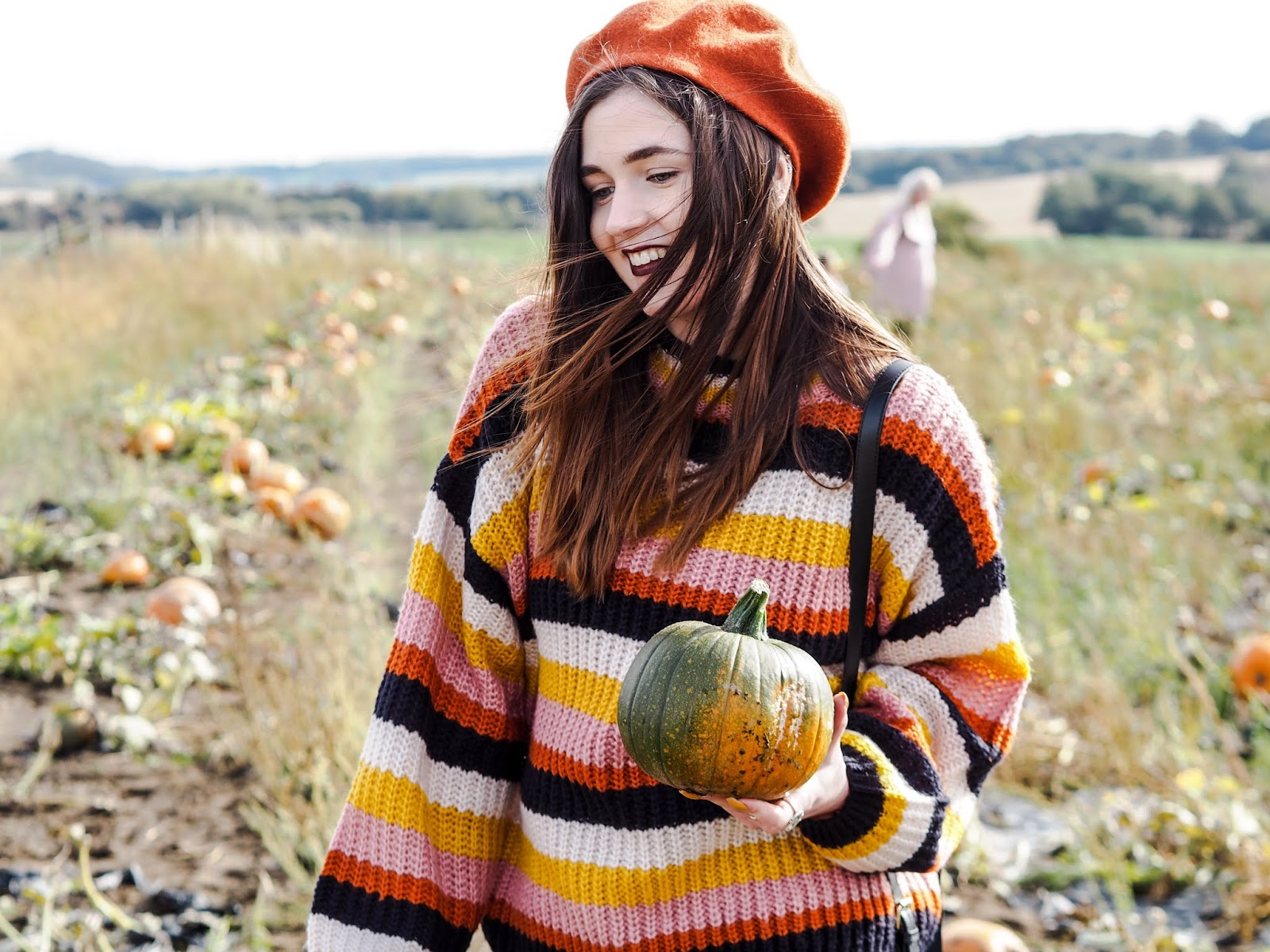 stripe jumper and beret