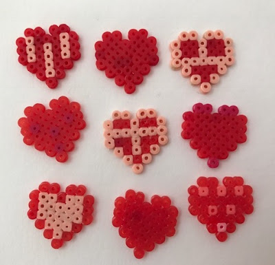 Mini Hama bead heart decorations