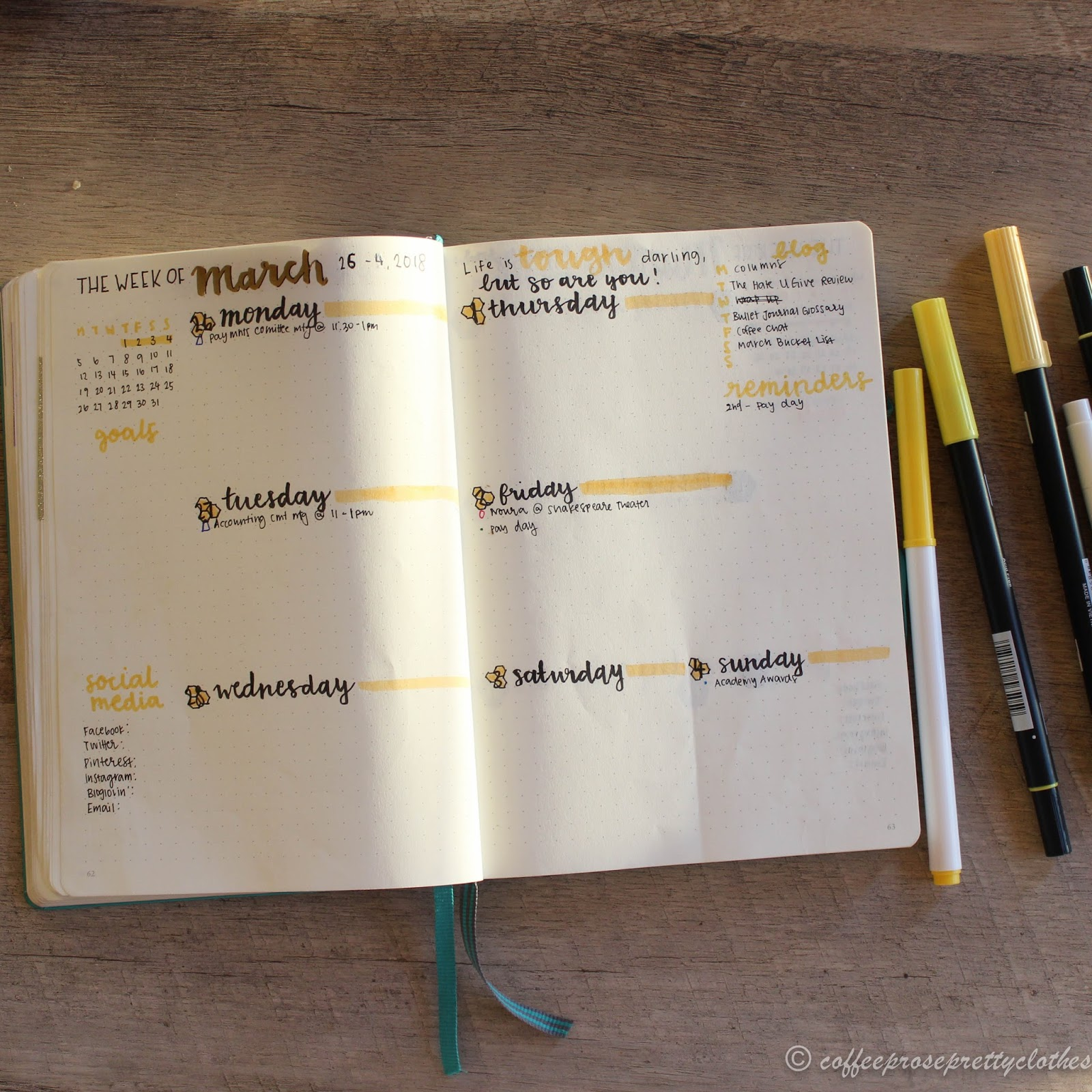 March Bullet Journal weekly spread
