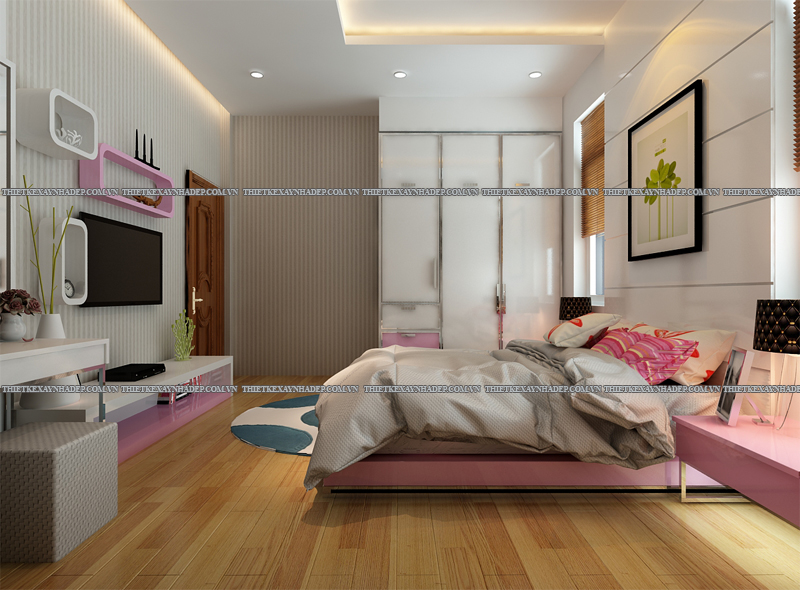Mẫu thiết kế nội thất phòng ngủ đẹp anh Đăng - chị Thu Ngân Q.2 Phong-ngu-con-gai-2