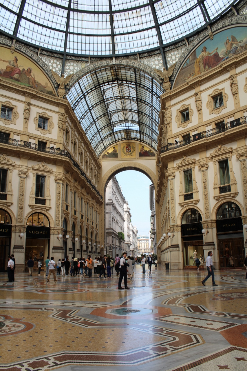 Versace and Prada shops in Galleria in Milan