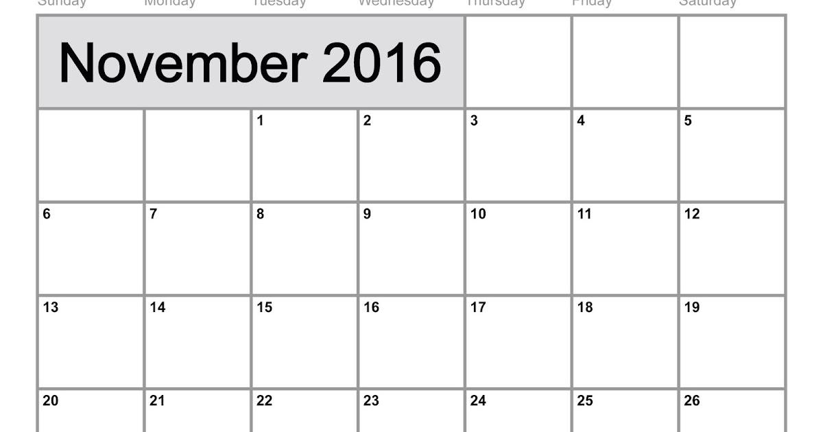 Get Printable Calendar : November 2016 Printable Calendar PDF Excel ...
