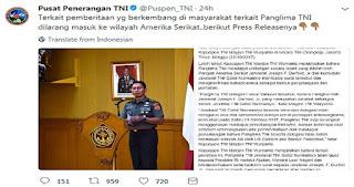 RESMI! Ini Press Release Puspen TNI Soal Pemberitaan Panglima TNI Dilarang Masuk AS