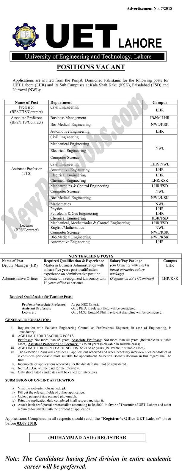 UET Lahore Latest Govt Jobs July 2018 | www.uet.edu.pk