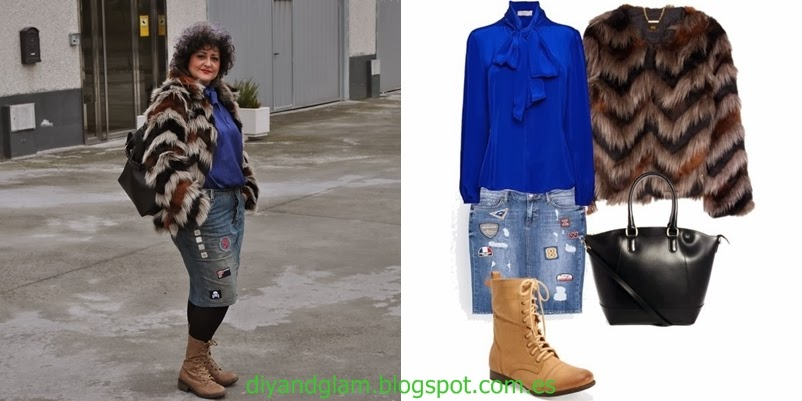 Look falda denim con parches