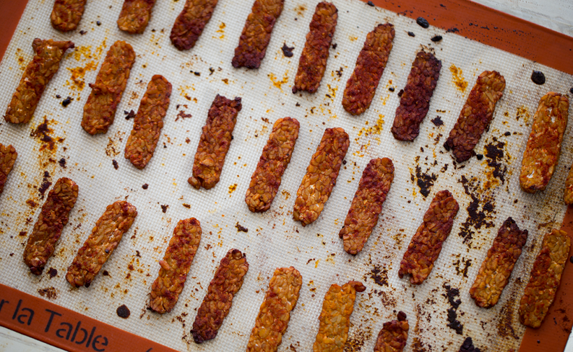 tempeh bacon, baked