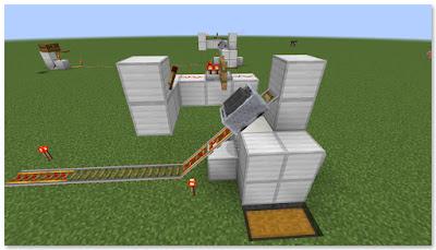 Minecraft 高速トロッコ輸送 アイテム荷降ろし駅 作り方 完成図①