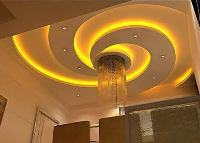 Plaster of Paris ceiling design POP false ceiling ideas for living room hall with LED indirect lighting ideas 2018
