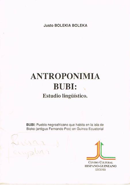Antroponimia Bubi; Estudio lingüístico