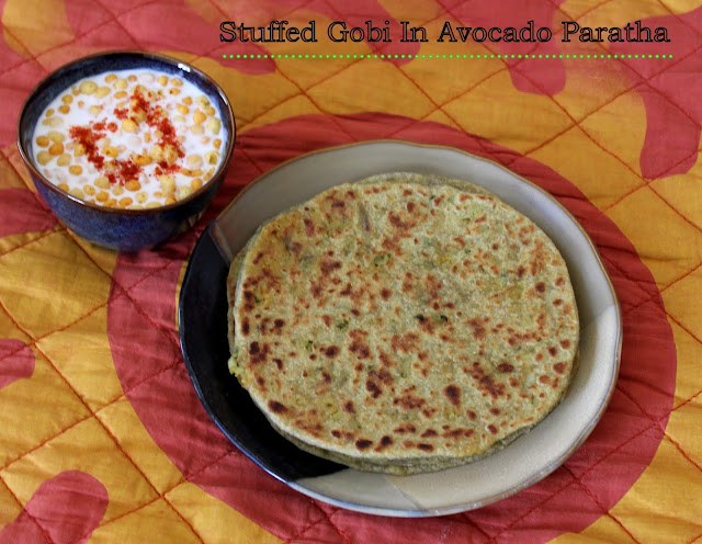 images of Stuffed Gobi In Avocado Paratha / Gobi Paratha Recipe / Avocado Chapathi Stuffed With Gobi