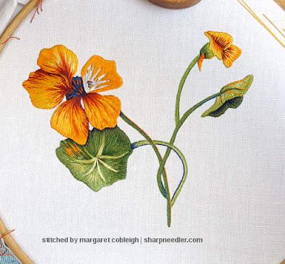 Embroidering the last thread painted nasturtium petal. (Catherine Laurencon Capucines (Inspirations))